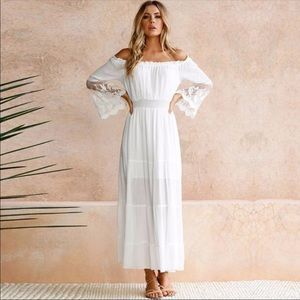 Dresses & Skirts - Women maxi white lace boho bohemian summer dress